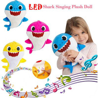 Wholesale baby stuffed animals online - 3 Colors cm LED Music Baby Shark Plush Toys Cartoon Stuffed Lovely Animal Soft Dolls Music Shark Plush Doll Party Favor CCA11180