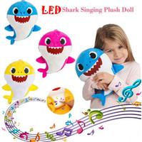 Wholesale wholesale stuffed animals for sale - 3 Colors cm LED Music Baby Shark Plush Toys Cartoon Stuffed Lovely Animal Soft Dolls Music Shark Plush Doll Party Favor CCA11180