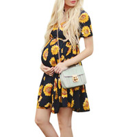 649319449adca Summer 2019 Maternity Dress Pregnancy Dress Women Pregnant Maternity  Clothes Short Sleeve Flower Printed Belt Mini Dresses M08#3