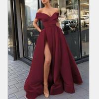 hote satış toptan satış-Omuz Burgonya Gelinlik Kapalı 2019 Hote Satış Seksi Bölünmüş Yan Abiye Giyim Custom Made