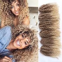 ombre kıvırcık saç toptan satış-3 Adet 10 Inç Marlybob Tığ Saç Örgüler Su Dalga Kinky Kıvırcık Sentetik Saç Demetleri Uzantıları Ombre Jerry Curl Kadınlar için büküm Saç