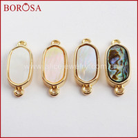 безделушки оптовых-BOROSA 20PCS Oval Shape Natural Shell Gold Bezel Connectors Wholesale Abalone Shell Double Charms for Jewelry Making WX1004