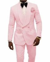 smoking rosa azul venda por atacado-Noivo Smoking Rosa Mens Casamento Smoking Xale Lapela Homem Jaqueta Blazer Moda Men Prom / Dinner 2 Piece Suit (Jacket + Calças)