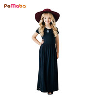 Wholesale kids modelling short clothes resale online - Pamaba Girls Formal Dress A line Draped Colors Soft Children Summer Pageant Clothing Elegant Kids Maxi Dress Model Party Robe J190506