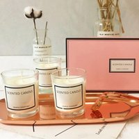 Wholesale 3PCs Set Aromatherapy Candle Scented Candle High End Set Gift Box Essential Oil Soy Wax Candle With Glass Wedding Home Decor D19011702