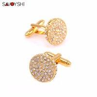 круглые запонки из золота оптовых-SAVOYSHI  Crystal Cufflinks For Men Shirt Cuff Buttons High Quality Round Gold Color Cufflink  Jewelry Wedding Gift