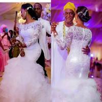 Wholesale mermaid wedding dresses for sale - Stunning Plus Size Ruffle Wedding Dresses Nigerian Long Sleeve Lace Arabic Marriage robe de mariée Bridal Gowns Custom Bride Dress