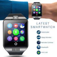 bluetooth cep telefonu izle toptan satış-Q18 bluetooth smart watch dokunmatik ekran kamera izle cep telefonu sim kart yuvası ile akıllı bilek android ios telefon