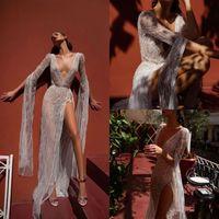 Wholesale inbal dror long sleeve lace for sale - Group buy Inbal Dror Beach Wedding Dresses V Neck Lace High Split Illusion Bodice Floor Length Bohemian Wedding Dress Long Sleeve Bridal Gowns