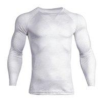 camisetas blancas apretadas al por mayor-Hombres Los deportes blancos apretados camiseta de manga larga tapa de la aptitud Running Tee