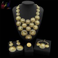 Wholesale women brass necklaces resale online - Yulaili Trendy Zinc Alloy Big Flower Pendant Necklace Earrings Bracelet Ring Dubai Gold Jewelry Sets for Women Party Wedding Accessories