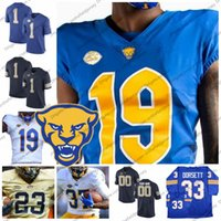 özel markalı toptan satış-Özel NCAA Pittsburgh Panterler Yeni Marka Futbol Forması Herhangi İsim Numarası 24 CONNER # 13 Dan Marino 97 Aaron Donald 12 P. Pord PITT S-3XL
