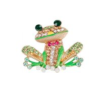 Wholesale enamel frog resale online - New Lovely Crystal Green Frog Brooches Enamel Zinc Alloy Animal Brooch Pin for Women Shawl Buckle Men Suits Jewelry Accessories