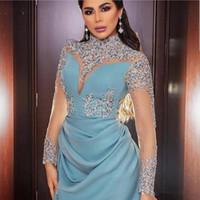 echte probe royal blaue kleider groihandel-Arabisch Langarm Abendkleider 2019 Hand Perlen Applique robe de soiree musulman Stehkragen Abendkleid Party Kleider