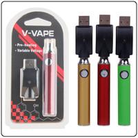 Wholesale best vape charger for sale - Group buy 650mah Preheating Battery V VAPE Blister Charger Kits Preheat Vape Battery Variable Voltage Multi Color V Vape Best E cigarette