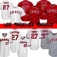 baseballs toptan satış-Melekler 27 Mike Alabalık 17 Shohei Ohtani Los Angeles 2019 yeni Beyzbol forması