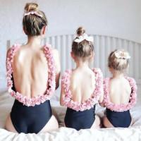 ingrosso vestiti della madre della figlia-Mamma figlia Costumi da bagno Fiore Mamma e me Costumi da bagno Bikini Famiglia Vestiti da abbinare Famiglia Guarda mamma e figlia Costume da bagno
