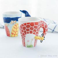 Wholesale painted giraffe resale online - Ceramic animal mug Ceramic Coffee Milk Tea Mug Creative Animal Shape Hand Painted Deer Giraffe Cow Rabbit Dog Cat Camel Elephant Cup LXL773L