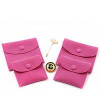 fixadores de jóias venda por atacado-Saco de Embalagem de Presente de Jóias de veludo Pequeno Envelope forma Bolsa com Snap Fastener À Prova de Poeira sacos de Armazenamento de jóias hot pink