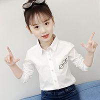 kızlar korece çocuk t-shirt toptan satış-Kızlar Çocuklar Için Bluzlar Pamuk T-Shirt Çocuk giyim Kadın Beyaz Elbise Gömlek Bluz Prenses Çocuk Gömlek Markalar Kore Yeni