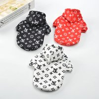 Wholesale classic dog clothes resale online - Tide brand Dog clothes Autumn And Winter Fleece jacket with hat whole body Letter printing Dog coat new style