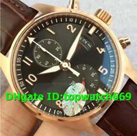 lite de oro al por mayor-V6 Nuevo lujo 387803 Reloj 7750 Cronógrafo automático Movimiento Caja de oro rosa de 18 quilates Lite Dial gris Correa de cuero marrón Reloj para hombre