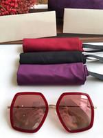 lunettes de soleil en porcelaine achat en gros de-Nouvelle édition limitée de lunettes de soleil pour femmes GG0106S Big-frame Chine-rouge design56-19-140gradient les lunettes de soleil anti-UV400 à débordement complet