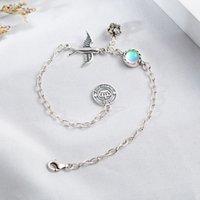 925 adet gümüş taç takılar toptan satış-925 Gümüş Charm Bilezikler Kadınlar Doğal Taş Aytaşı Vintage Taç Swallow Güzel Takı Bilezikler Bangles için