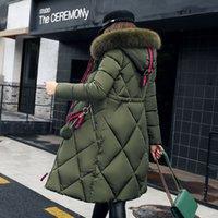 chaqueta larga de piel abajo al por mayor-Abrigo de invierno de piel grande engrosado parka mujeres cosiendo delgado largo abrigo de invierno abajo algodón damas abajo parka abajo chaqueta