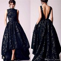Wholesale white formal gowns for sale - 2019 Arabic Hi Lo Black Lace Dresses Evening Wear Vintage Occasion High Neck Backless Formal Prom Party Gowns