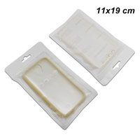 Wholesale cell phone hanging pouch resale online - 11x19cm White Plastic Front Clear Resealable Packing Bag for Cell Phone Accessory Zipper Hang Hole Phone Case Cover Storage Pouch