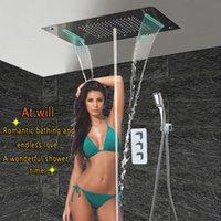 conjuntos de ducha led de pared al por mayor-Montado en la pared Conjunto de ducha de baño con LED Techo Cabeza de ducha Panel termostático Baño de lujo Ducha Lluvia Cascada Burbuja Niebla HF5422