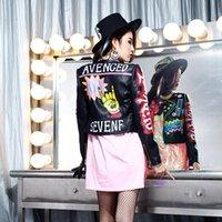 ingrosso giacche con cappotti in stile punk-Giacca in pelle donna primavera e autunno Graffiti lettera modello cappotti in pelle stile punk pazzo