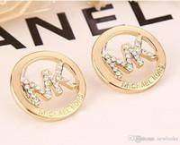 ingrosso lettere placcate in argento-Gioielli da donna Orecchini di moda Lettere 18K Orecchini in argento sterling placcato argento E008