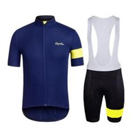 Wholesale cycling gel set for sale - Group buy 2019 RAPHA team Cycling Short Sleeves jersey bib shorts sets summer style quick dry mtb bike sportswear D gel pad K072901