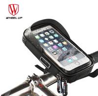 phone holder bicycle toptan satış-TEKERLEK UP Bisiklet Bisiklet Telefonu Çantası Yağmur Geçirmez TPU Dokunmatik Ekran Cep Telefonu Tutucu Bisiklet Gidon Çanta MTB Çerçeve Kılıfı Çanta