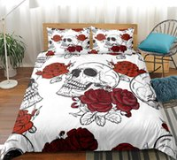 Wholesale skulls bedding resale online - White Skull Bedding Set Roses Duvet Cover With Pillowcases Floral Printed Red Gothic Home Textiles Bedclothes