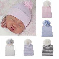 ingrosso maglia crochet bella-Newborn Baby Pom cappello invernale cappelli lavorati a maglia dei ragazzi delle ragazze Warm Crochet Pom cappello floscio Designer protezione bella HHA1053