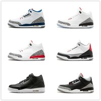 schuhe sport gezeichnet groihandel-New Black White Cement 3 3s Männer-Basketball-Schuhe International Flight Katrina Tinker Seoul Freiwurflinie Sports Sneaker uns 7-13