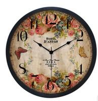 Wholesale bar clocks home resale online - Europe Style Vintage Wall Clock Fashion Inch Silent Wall Clocks Home Bedroom Living Room Decor Coffee Shop Bar Clock