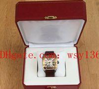pulseira de couro para homens venda por atacado-Luxo W20072X7 Aço Inoxidável 18 K Ouro Bezel Relógios de Pulso Dos Homens dos homens Pulseira De Couro Mens Relógio Mecânico Automático Caixa Original