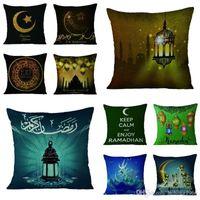 Wholesale designer classics covers resale online - New Creative Classic Flax Cushion Cover Sofa Bedroom Decor Ramadan Kareem Eid Mubarak Pillowslip Muslim Pattern Pillow Case hn