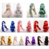 grandes cosplay venda por atacado-Mais cor perucas europeus e americanos de animação cosplay cabelo set 70cm longo cabelo encaracolado um grande número de inventário