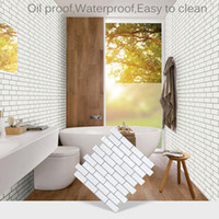 3d mozaik kiremit toptan satış-1 adet / 5 adet / takım Kendinden Yapışkanlı Mozaik Karo Duvar Çıkartması Sticker DIY Mutfak Banyo Ev Dekor Retro 3D Vinil Su Geçirmez duvar kağıdı
