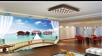 Wholesale background indoor painting for sale - Group buy Custom Retail D Stereo Villa Balcony Sea View Indoor TV Background Wall Painting