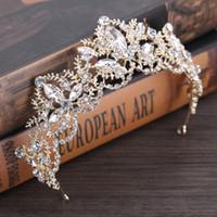 ingrosso velo di tallone d'argento-Perle di strass di lusso barocco cuore diadema nuziale corona di cristallo d'argento diadema velo diadema accessori per capelli da sposa copricapi