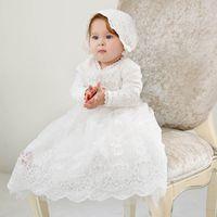 roupas para batismo princesa venda por atacado-New vestido de batismo rendas batismo do bebé vestido de princesa longo do bebê vestidos menina chapéus 2pcs bebé recém-nascido roupas de grife A4866
