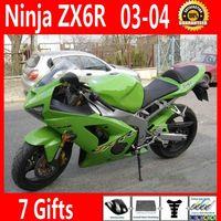 satılık zx kaplama toptan satış-Sıcak satış marangozluk kawasaki Ninja ZX6R için set 636 03 04 aftermarket ZX-6R 2003 2004 yeşil fairing kiti GG69