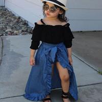 kısa kot çocukları toptan satış-Çocuklar Kızlar Giyim Setleri Katı Uzun Kollu Sapan Papyon Kayışı kot Elbise Çocuklar Desinger Giysi Elastik PP Şort Üç Parçalı Takım 1-5 T