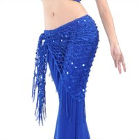 Wholesale crochet scarf tassels resale online - Belly Dance Practice Clothes Accessories Stretchy Long Tassel Triangle Belt Hand Crochet Belly Dance Hip Scarf Sequin Colors